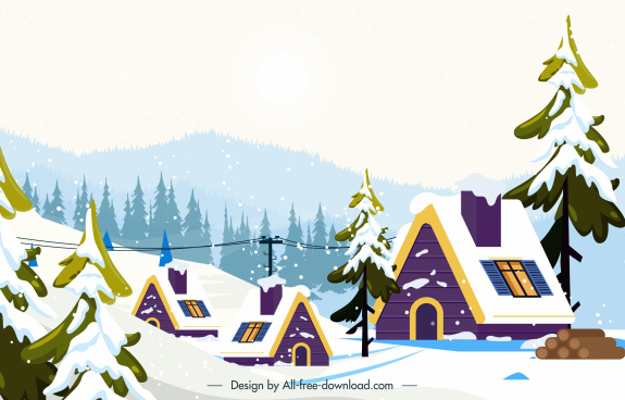 winter scenery background snow cottages sketch