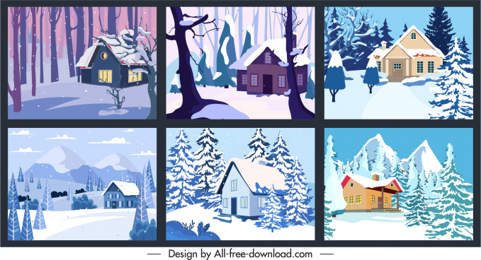 winter scenery background templates colored classical sketch