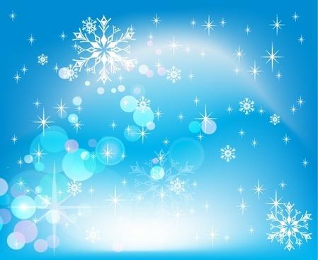 winter snowflakes background sparkling blue bokeh decoration