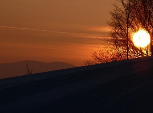 winter snow the sun