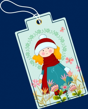 winter sticker template cute girl flowers decoration