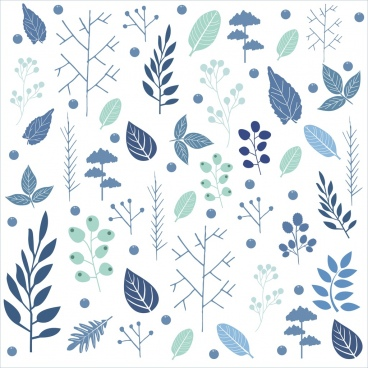 winter style background various leaves ornament repeating design