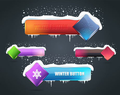 winter styles buttons vector