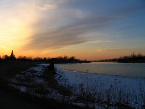 winter sunset dusk