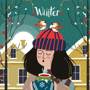 winter time painting girl bird icons cartoon character