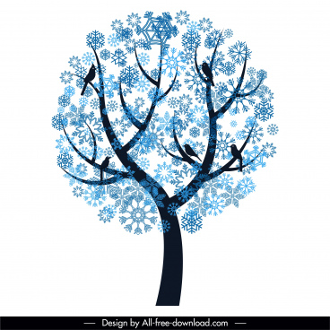 winter tree icon snowflakes decor flat silhouette