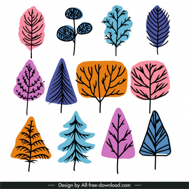 winter trees icons colored flat classic handdrawn sketch