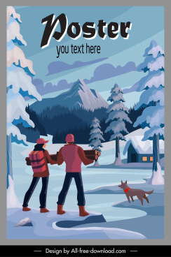winter vacation poster snow mountain scene sketch