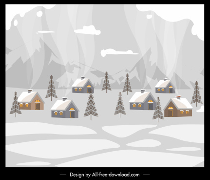 winter village painting cottages snow sketch retro design