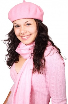winter woman in pink