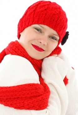 winter woman in red