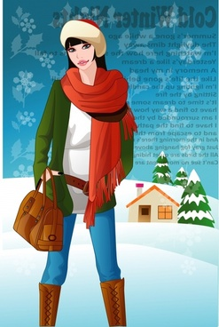 winter fashion advertisement young lady icon cartoon character