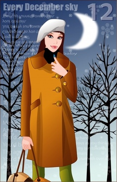 winter fashion advertisement elegant modern moonlight snowflake decor