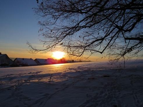 wintry sunset sun