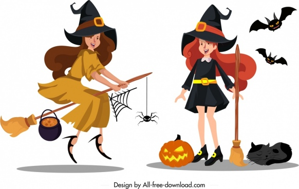 witch icon cute young girls sketch colored cartoon