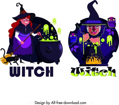 witch icons cartoon character dark multicolored design