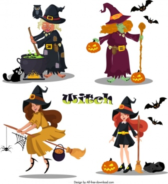 witch icons old young women sketch cartoon design