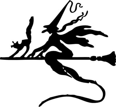 Witch On A Broom Stick clip art