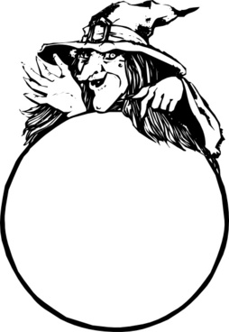 Witch With Crystal Ball clip art