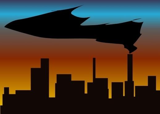 Witchlines Skyline With Black Smoke clip art
