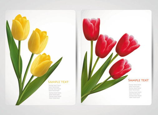 with flowers cards vector template