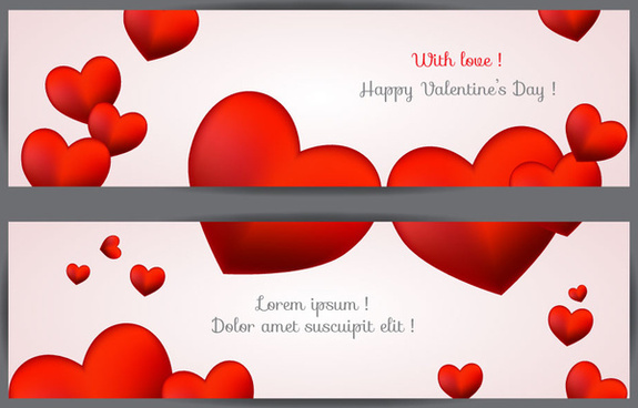 with love happy valentine day banner
