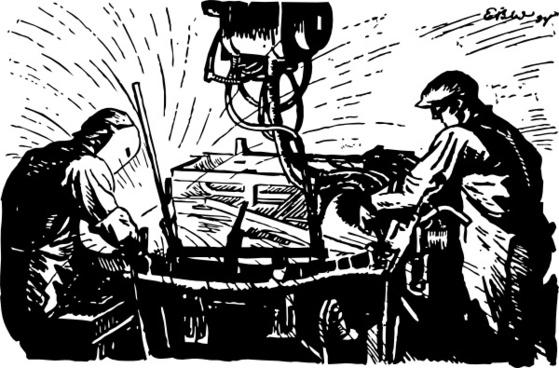 Wokers Using The Welding Machine clip art