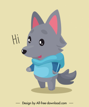 wolf character icon cute stylized cartoon sketch