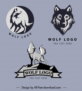 wolf logo templates classical dark silhouettes handdrawn sketch