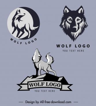 wolf logo templates classical dark silhouettes handdrawn sketch