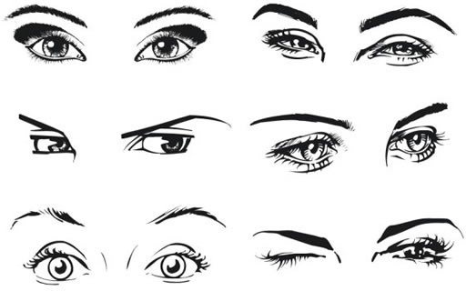 woman eyes templates black white handdrawn sketch