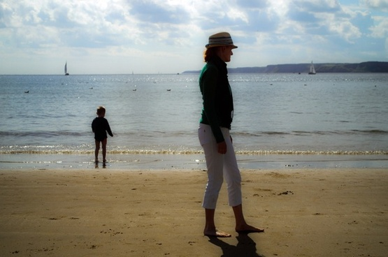 woman child and sea