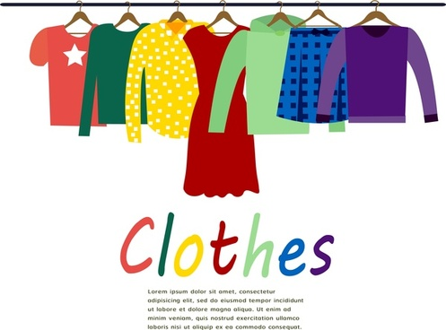 woman clothes collection with hanging illustration
