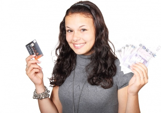 woman credit card and money
