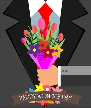 woman day banner illustration with gentlemen holding bouquet