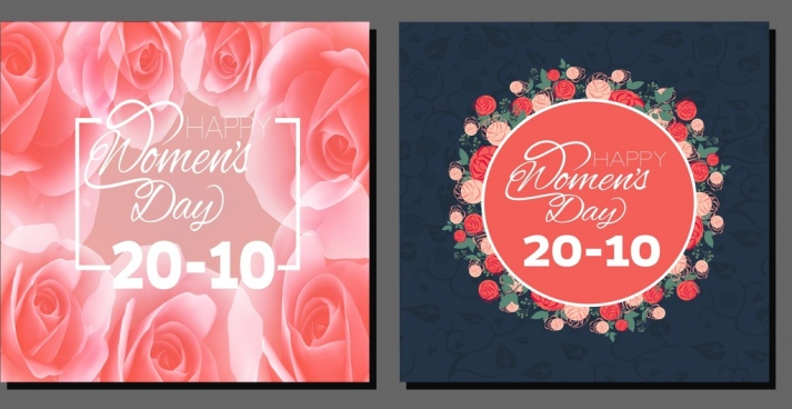 woman day banner red roses decoration calligraphy design