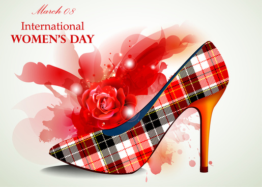 woman day card design with rose and shoe