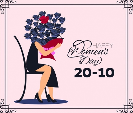 woman day card template woman rose icons decoration