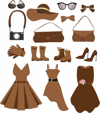 woman fashion accessories icons black brown design