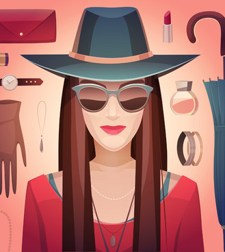 woman fashion elements vectors background