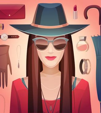 woman fashion elements vectors background