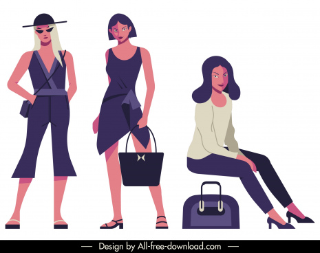 woman fashion icons contemporary design colored cartoon characters