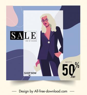 woman fashion sale banner colorful elegant design