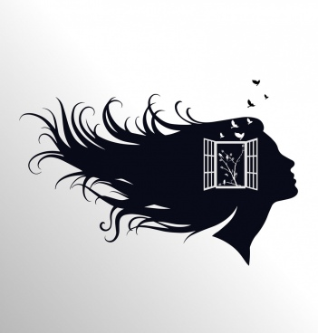 woman head background black silhouette window decoration