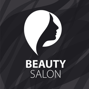 woman head with beauty salon logos vector