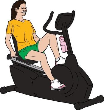 Woman On Exercise Bike clip art