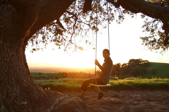 woman on swing under tree at sunrise