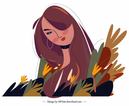 woman painting floral decor colorful retro handdrawn