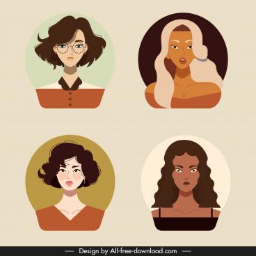 woman portrait avatars colored cartoon sketch classical design