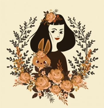 woman portrait drawing brown rabbit flower wreath decoration